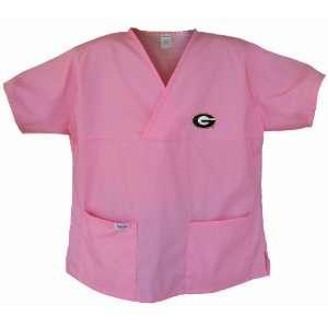 Georgia Bulldogs Pink Scrubs Tops SHIRT University of