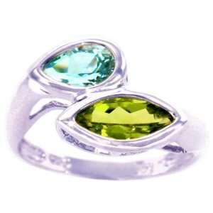 Gemstone Ring Multi Peridot Sky Blue Topaz, size7.5 diViene Jewelry