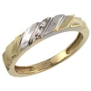 Sterling Silver (Gold Plated) Ladies Diamond Wedding Ring Band, w/ 0
