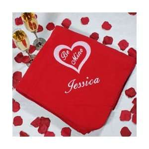 Personalized Embroidered Be Mine Love Throw Blanket