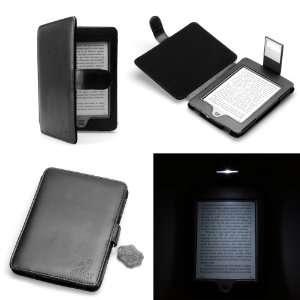 August Lion (TM) Genuine Leather Black Case for KINDLE