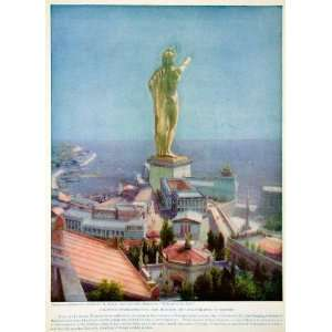 1924 Color Print Colossus Rhodes Sculpture Statue Hanging Gardens