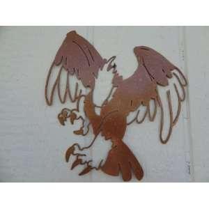 Eagle Diving After Prey Metal Wall Art Decor Hammered Copper Color