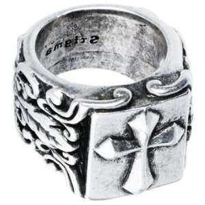 Size 10   Oxidized Sterling Silver Stigma Cross Shield Ring Jewelry