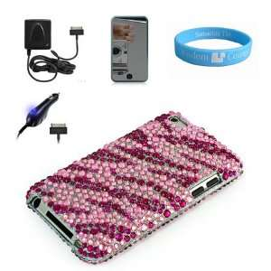 Attractive Pink Zebra Rhinestone Filled Cover for Latest 4th Gen Apple