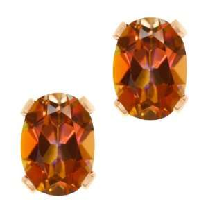3.20 Ct Oval Ecstasy Mystic Topaz Gold Plated 4 prong Stud