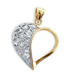 White and Yellow Gold Love Charm Cubic Zirconia Jewel Roses Jewelry