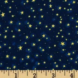 44 Wide Scary Night II Stars Dark Blue Fabric By The