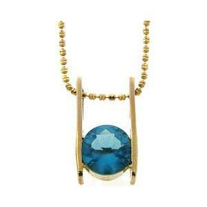 Sterling Silver Gold Plated Blue CZ Ladder Pendant