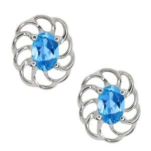 1.10 Ct Oval Swiss Blue Topaz 18k White Gold Earrings Jewelry