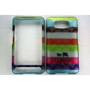 HTC HD2 ANDROID C STYLE MULTI COLOR STRIPE CASE/COVER WITH METALLIC 3D