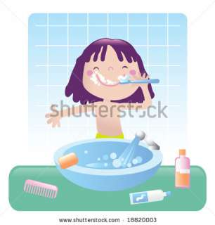 stock vector  cute little girl brushes her teeth in bathroom, vector