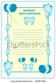 stock photo  Boys birthday party invitation card with blue cartoon