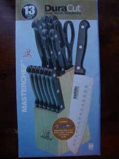 MASTER CHEF KNIFE SET BLOCK KNIVES 13PC WOOD BLOCK SET