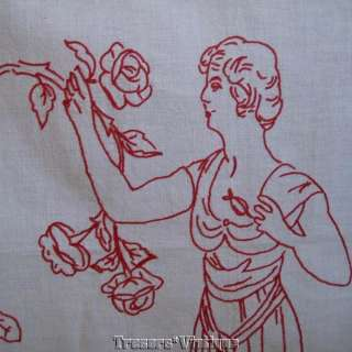 Antique Curtains Red / white embroidered lady, France