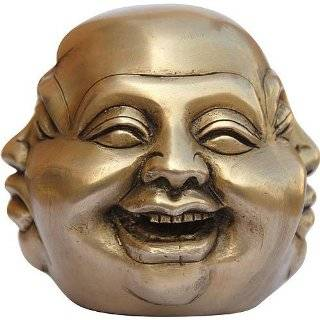Brass Buddha Statue Collectibles 4 Face Sculpture Laughing
