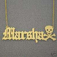 14K Gold Old English Font Name with Skull Necklace NN32
