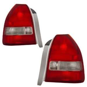 1996 1998 Honda Civic 3D KS Red/Clear Tail Lights