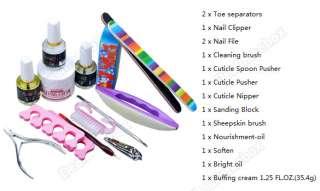 Pro F ull Nail art Cuticle Set brush Sanding Buffing Nipper kit soften
