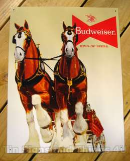 Budweiser Beer Clydesdale Team Tin Sign BAR BUD 1631