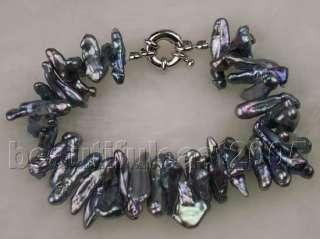 Rare&abnormal black pearl necklace&bracelet&earrings
