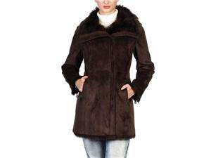 Jessie G. Womens Zip Front Faux Shearling Coat