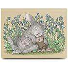 New House Mouse SNUGGLE BUNNY Rubber Stamp Mice Flowers Rabbit Happy