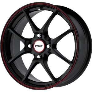 TSW Alloy Wheels Trackstar 4 Flat Black Wheel with Red Lip