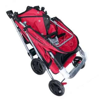 Red 4 Wheels Folding Pet Dog Cat Stroller CARRIER HEAVY DUTY
