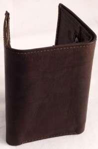 BROWN Leather KEY HOLDER WALLET w/Zip Pocket & CASH SLOT 312CF