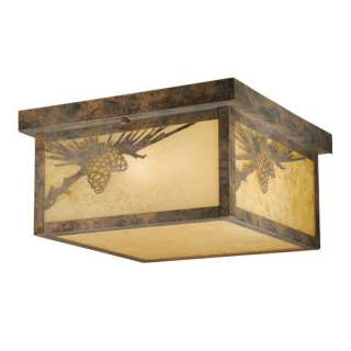 NEW 2 Light Rustic Pine Cone Outdoor Flush Mount Ceiling Lighting