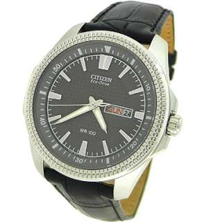 Citizen BM8490 06H Grey Round Dial Black Leather Mens Watch