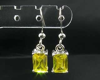 Emerald Cut Yellow Citrine White Gold GP Drop Earrings