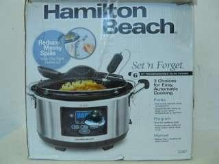 Hamilton Beach 33967 Set Forget 6Quart Programmable Slow Cooker