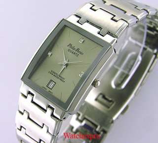 NEW PHILIP PERSIO MENS SQUARE DRESS CRYSTAL WATCH DATE