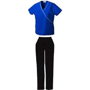 Electric Blue Ribbon Trim Mock Wrap Top and Black Pull On Scrub Pant