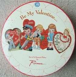 ROSANNA BE MY VALENTINE DESSERT PLATES with ORIGINAL BOX 4 VALENTINE