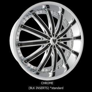 New 28 Inch 28x9 Venice Wheels Dolce chrome w/ black inserts Rims 5