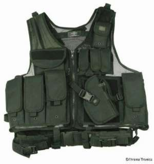 Cross Draw Black Tactical Vest & Airsoft HALO Mask PKG