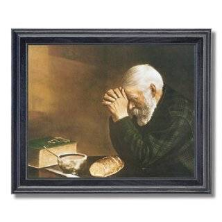 daily bread man praying at dinner table grace religious picture framed