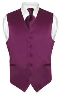Men EGGPLANT PURPLE Dress Vest NeckTie for Suit Tux