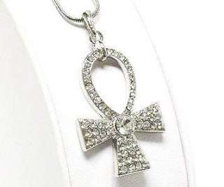Crystal ANKH Egyptian Cross Necklace White Gold Plt NEW