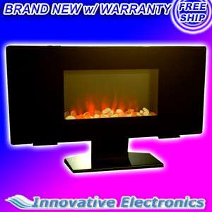 MOUNT/ PEDESTAL FLAT GLASS PANEL ELECTRIC FIREPLACE HEATER w/ REMOTE