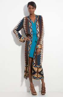 Haute Hippie Print Silk Maxi Cardigan