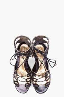 Alexander Mcqueen Black Lace up Wedges for women
