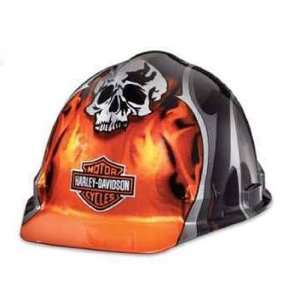 Harley Davidson Hard Hat Skull Flames Bar & Shield Logo w/ Ratchet