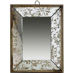 Antique Look Frameless Wall Mirror / Tray 12 inchx9.5 inch