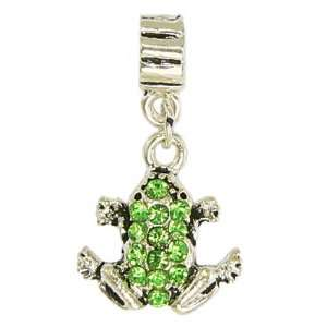 Dangling Green Crystal Frog Metal Charm by Olympia   Compatible with