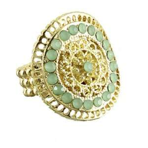 Matte Gold Plated Fashion Stretch Ring with Green Stones in Center For