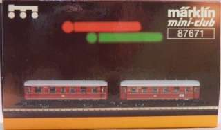 Marklin Mini Club Z Scale Set of 2 Passenger Cars 87671